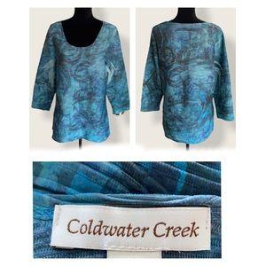 (L-14) COLDWATER CREEK Top w/Textured PatternEUC!!